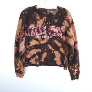 Texas Tech Spell Out Bleach Tie Dye Crop Crewneck